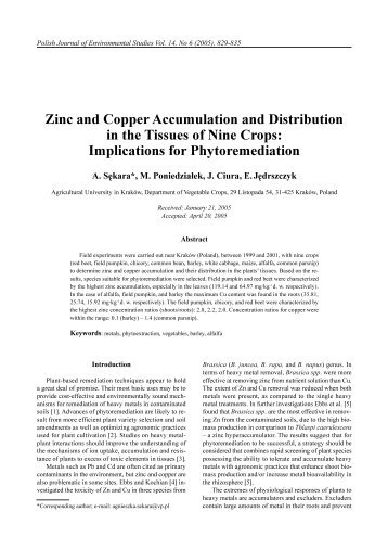 Zinc and Copper Accumulation and Distribution in the Tissues of ...