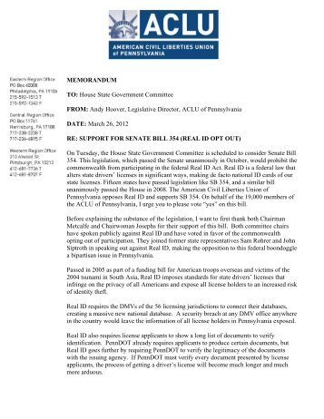 Memo to House State Government Committee on SB - ACLU