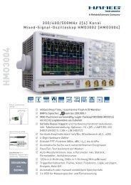 Hameg 3000-Serie MSO-Oszilloskope 300/400/500 MHz, 2/4-Kanäle