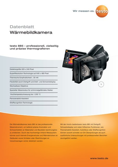Testo 885 Wärmebildkamera Bau