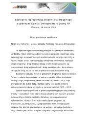 Zapis spotkania - Józefów 18.03.2008 - Polski Kongres Drogowy