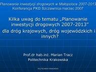 Planowanie inwestycji drogowych 2007-2013 - Polski Kongres ...