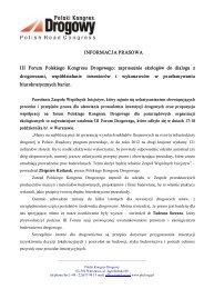 III Forum PKD - informacja prasowa - Polski Kongres Drogowy