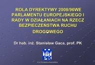 Rola dyrektywy 2008/96/WE Parlamentu Europejskiego i Rady w ...