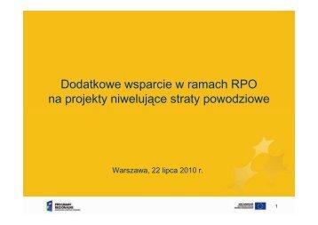 Dodatkowe wsparcie w ramach RPO na projekty niwelujące straty ...