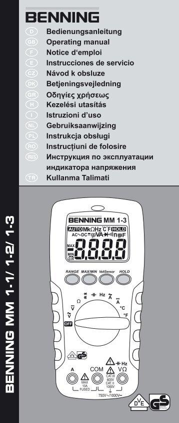 BENNING MM 1-1/ 1-2/ 1-3 - PK Elektronik