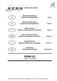 Bedienungsanleitung Kern & Sohn Zählwaage VC ... - PK Elektronik