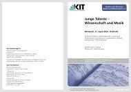 Junge Talente – Wissenschaft und Musik - PKM - KIT