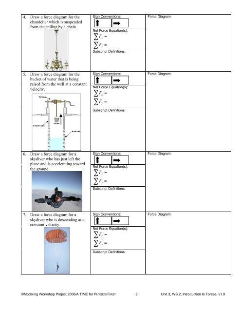 worksheet 2, force diagrams