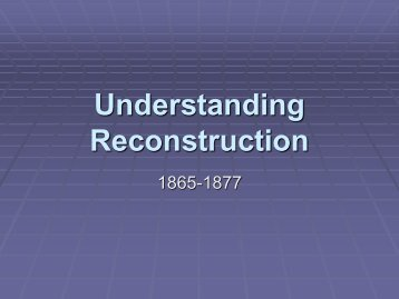 Understanding Reconstruction