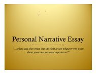 Personal Narrative Essay PowerPoint