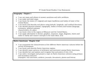 5th Grade Social Studies I Can Statements