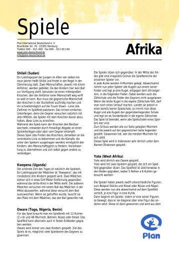 Spiele Afrika mit Logo - Plan Deutschland