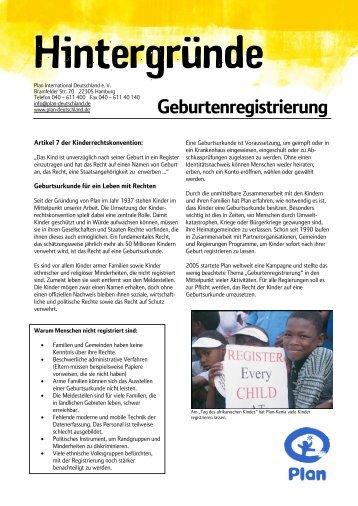 Geburtenregistrierung mit Logo und Rand - Plan Deutschland