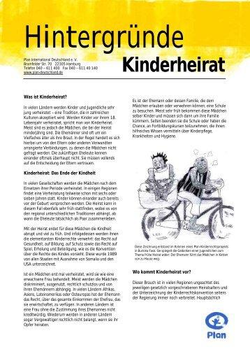 Kinderheirat - Plan Deutschland