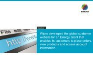 Wipro developed the global customer website for an Energy Giant that