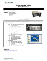 Clarity VCS Video Wall Processor Product Training Class ... - Planar