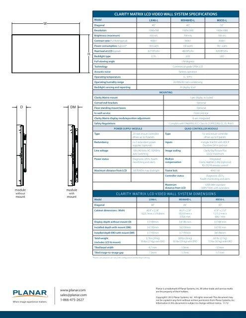 Clarity Matrix - Planar