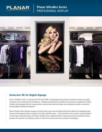 Planar UltraRes Digital Signage Brochure and Datasheet