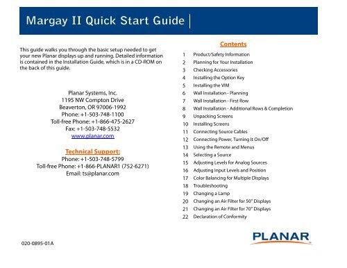 Clarity Margay II Quick Start Guide - Planar