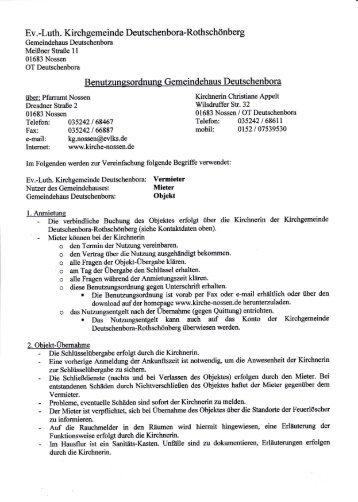 Benutzungsordnung Gemeindehaus Deutschenbora