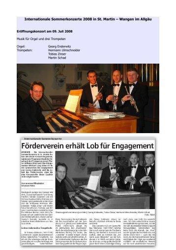 Internationale Sommerkonzerte 2008 - Förderverein Kirchenmusik ...