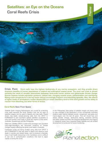 Satellites: an Eye on the Oceans Coral Reefs Crisis - Planet Action