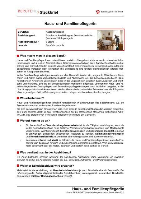Haus Und Familienpfleger In Steckbrief Haus Und Berufenet