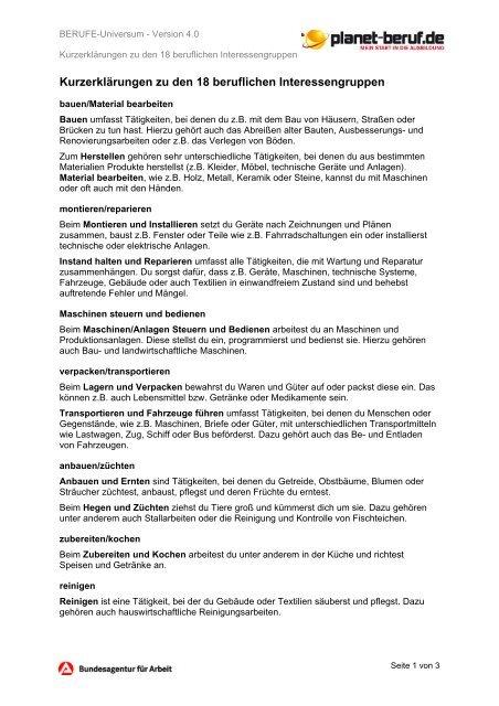 Berufliche Interessen - Planet Beruf.de