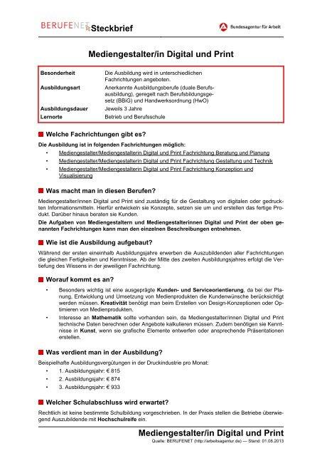 Mediengestalter/in Digital und Print Steckbrief ... - Planet Beruf.de