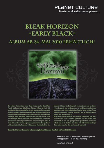 BLEAK HORIZON «EARLY BLACK» - Planet Corporate | Home