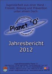Jahresbericht 2012 - Jugendfreizeitstätte Planet 'O'