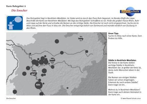 Karte Ruhrgebiet.Die Emscher Karte Ruhrgebiet A Planet Schule
