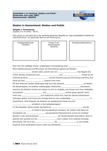 Arbeitsblatt: Quo vadis, BRD? - Medien und Politik - Planet Schule