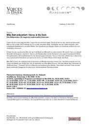 Mike Batt präsentiert: Voices in the Dark - Planetarium Hamburg