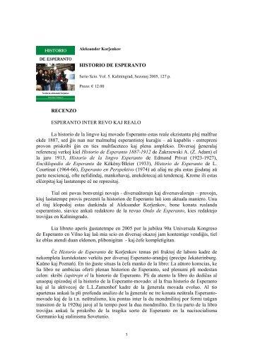 HISTORIO DE ESPERANTO RECENZO ESPERANTO INTER REVO ...
