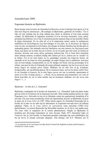 Historio de la Esperanto-movado en Bjalistoko - Plansprachen.ch