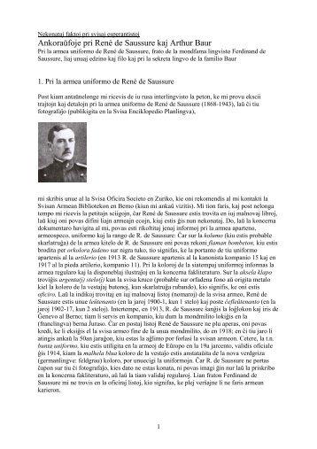 Ankoraŭfoje pri René de Saussure kaj Arthur Baur - Plansprachen.ch