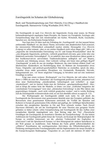 Eurolinguistik im Schatten der Globalisierung - Plansprachen.ch