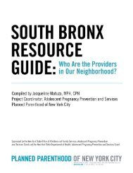 South Bronx Resource Guide - Planned Parenthood