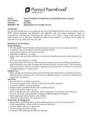 TITLE: Nurse Practitioner/Certified Nurse Midwife/Physicians ...