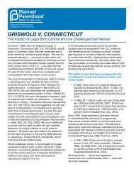GRISWOLD V. CONNECTICUT - Planned Parenthood