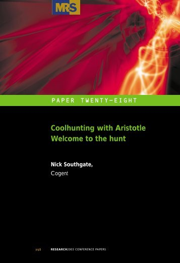 Coolhunting with Aristotle Welcome to the hunt - Planning Above ...
