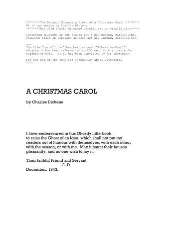 A Christmas Carol by Charles Dickens - Christmas Corner