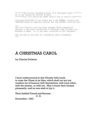 The Project Gutenberg Etext of A Christmas Carol - Planolibraries.org