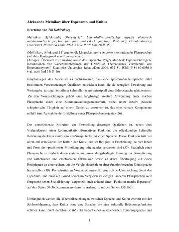 Aleksandr Melnikov über Esperanto und Kultur - Plansprachen.ch