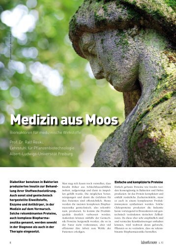 Medizin aus Moos - Bioss - Albert-Ludwigs-Universität Freiburg