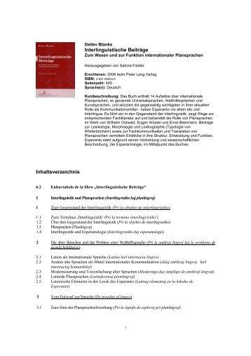 Interlinguistische Beiträge Inhaltsverzeichnis - Plansprachen.ch