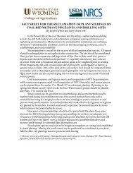 fact sheet for the reclamation of plant seedings on coal bed methane ...