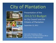 Budget Presentation - City of Plantation